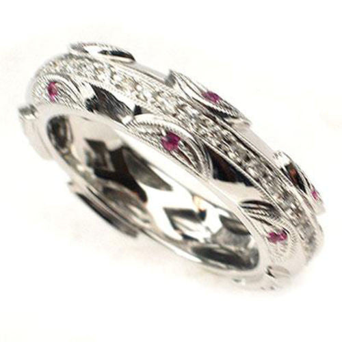.42CT DIAMOND & PINK SAPPHIRE WEDDING BAND RING