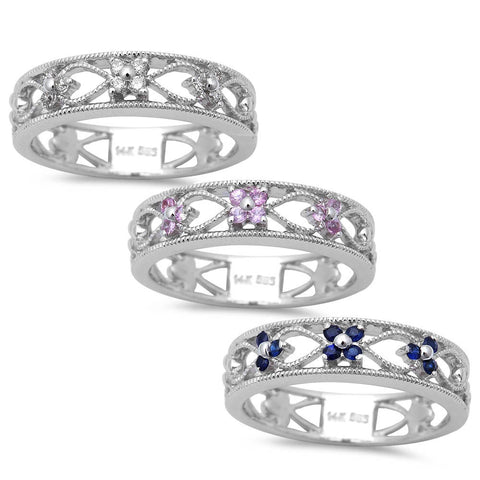 .10ct Antique Filigree Style Diamond, Blue or Pink Sapphire 14kt White Gold Ring