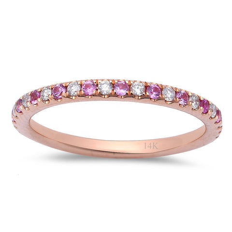 .58ct Pink Sapphire & Diamond Eternity Wedding Band 14kt Rose Gold  Size 6.5