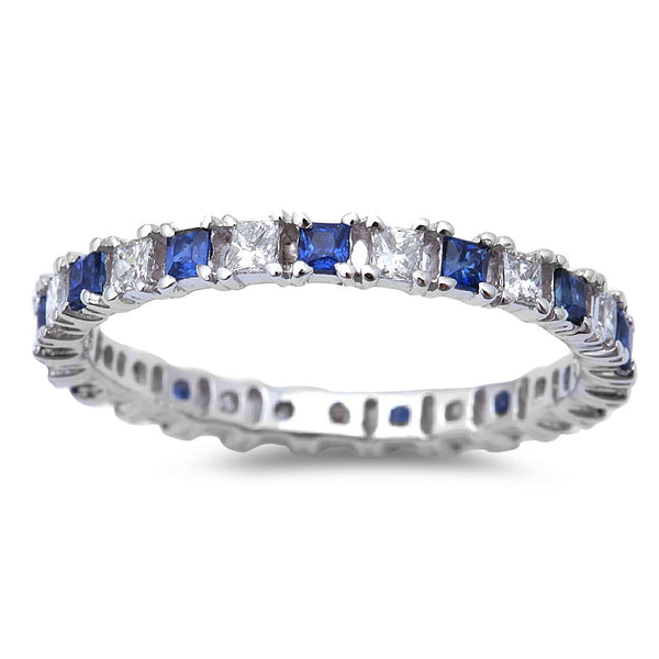 .83ct Blue Sapphire & Diamond Eternity Wedding Band 14kt White Gold  Size 6.5