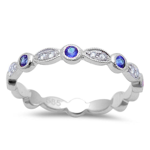 .32cts Blue Sapphire Wedding Anniversary bands 14kt White Gold