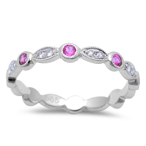 .32cts Pink Sapphire Wedding Anniversary bands 14kt White Gold