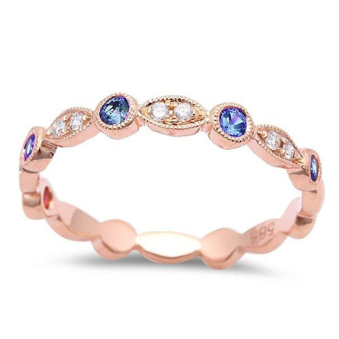 .32cts Blue Sapphire Wedding Anniversary bands 14kt Rose Gold