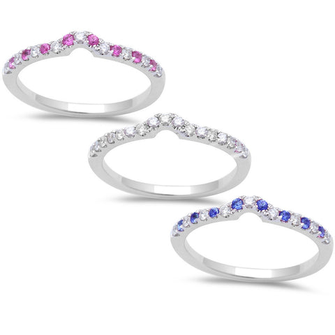 .26ct Round Diamond, Pink and Blue Sapphire Accent Wedding Band 14kt White gold