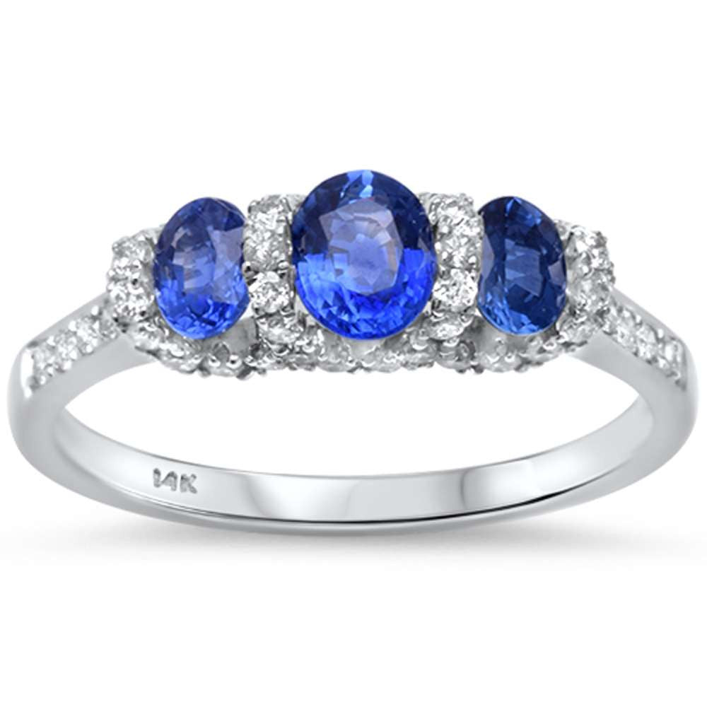 1.33ct F SI1 14kt White Gold Blue Sapphire Three stone Engagement Ring Size 6.5