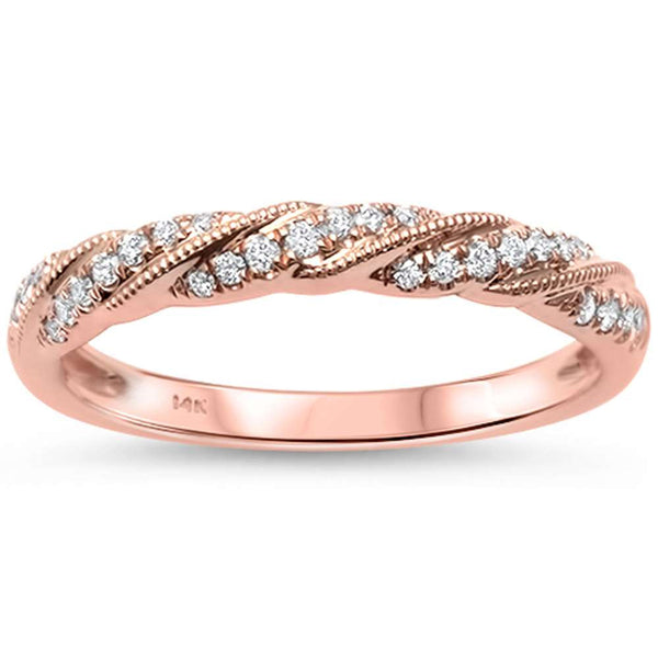 .14ct F SI1 14k Rose Gold Round Diamond Anniversary Band Ring Size 6.5