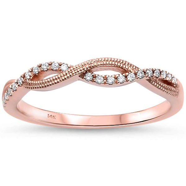 .07ct F SI1 14kt Rose Gold Twisted Infinity Anniversary Band Ring Size 6.5