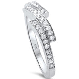 .27ct F SI1 14k White Gold Round Diamond Designer Band Size 6.5