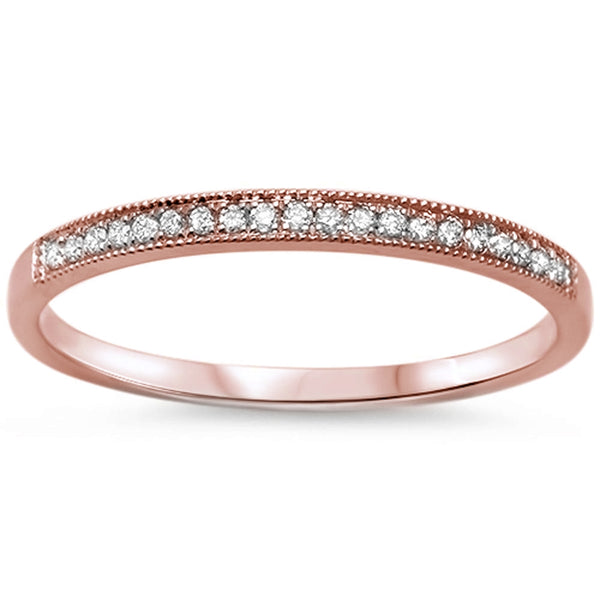 .08ct F VS2 14k Rose Gold Diamond Wedding Stackable Band