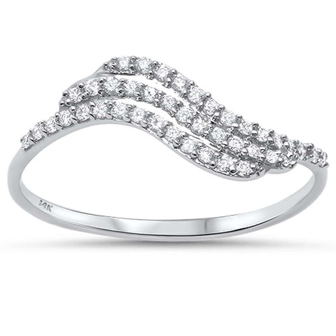 .17ct G SI 14kt White Gold Wave Diamond Band Ring Size 6.5