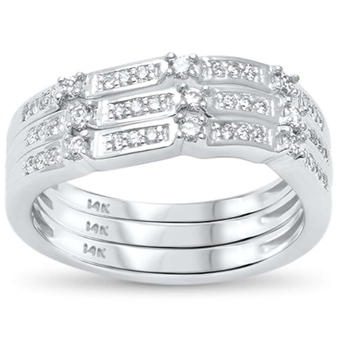 .35ct G SI 14kt White Gold Three Band Set Diamond Stackable Rings Size 6.5