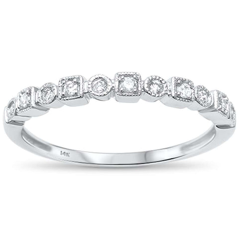 .11ct G SI 14kt White Gold Bezel Set Stackable Accent Diamond Band Ring Size 6.5