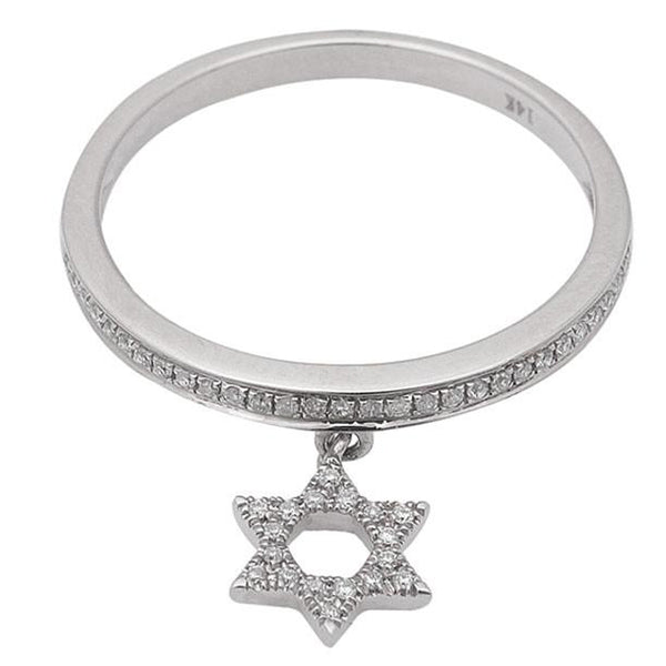 .17ct Diamond Star of David Dangle 14kt White Gold Ring Size 6.5