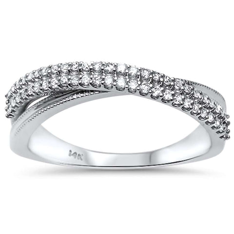 .24ct G SI 14kt White Gold Modern Criss cross Diamond Band Ring Size 6.5