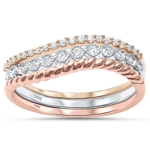 .20ct G SI 14kt Three Piece Set 3 Tone Diamond Band Stackable Rings Size 6.5