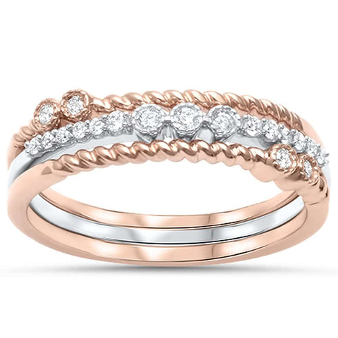 .15ct G SI 14kt Rose & White Gold Diamond Stackable Band Rings Size 6.5