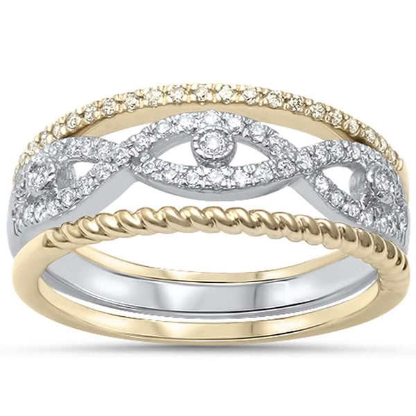 .32ct G SI 14kt White Gold & Yellow Gold Diamond Band Rings Stackable Size 6.5
