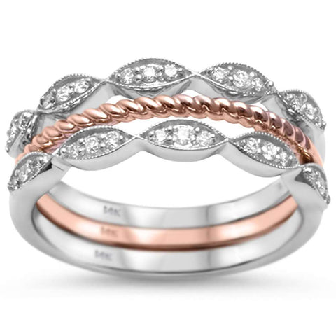 .20ct G SI 14kt Rose & White Gold Diamond Band Stackable Rings Size 6.5