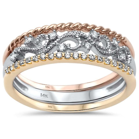 .15ct G SI 14kt Three Tone Gold Diamond Band Ring Size 6.5
