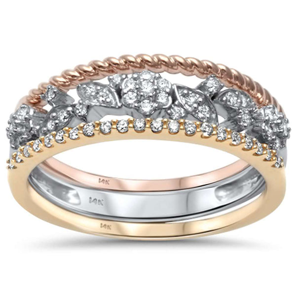 .24ct G SI 14kt Three Tone Gold Diamond Band Ring Size 6.5