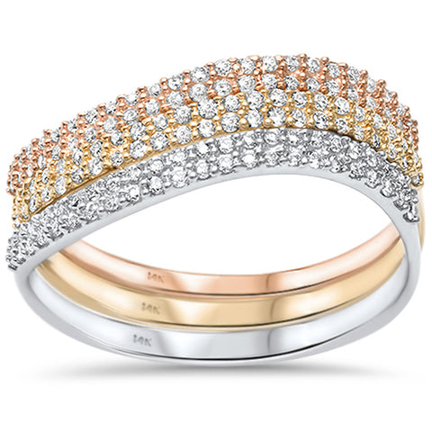 .33ct 14kt Tri Tone Three Band Stackable Set Diamond Rings Size 6.5