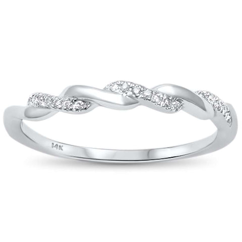 .05ct 14kt White Gold Twisted Band Diamond Ring Size 6.5