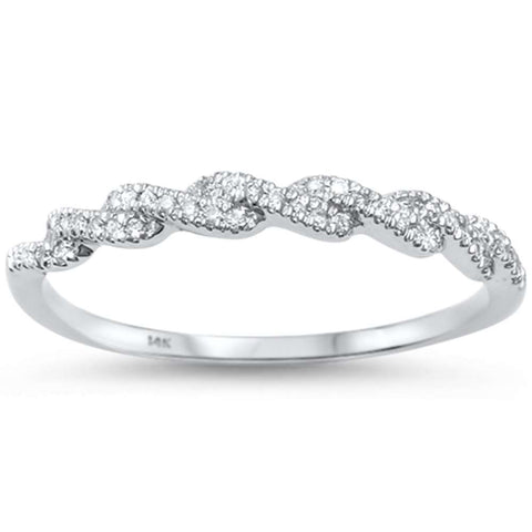 .09ct 14kt White Gold Twisted Band Diamond Wedding Ring Size 6.5