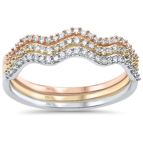 .26ct 14kt Tri Tone Three Wavy Diamond Bands Stackable Set Rings Size 6.5