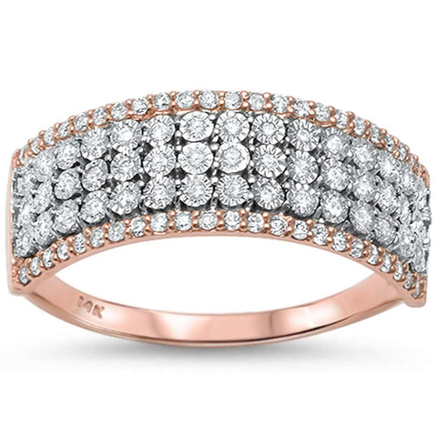 .30ct 14kt Rose Gold & Round Diamond Wide Band Ring Size 6.5