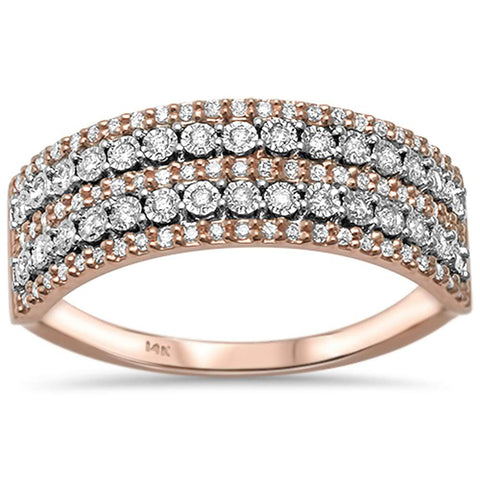 .24ct 14kt Rose Gold Round Diamond Wide Band Ring Size 6.5