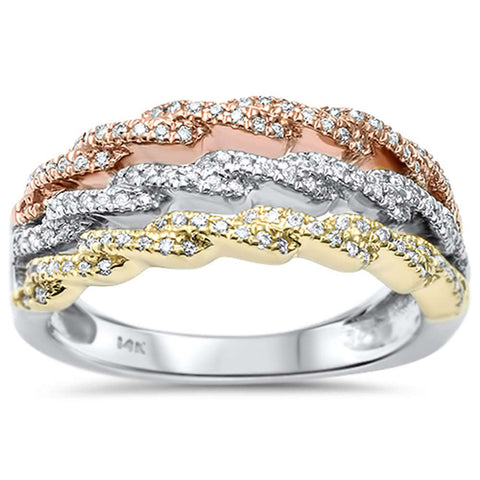 .27ct 14kt Tri Color Gold Diamond Wedding Band Cocktail Ring Size 6.5
