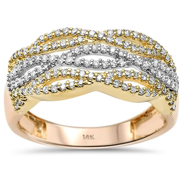 .43ct 14kt Tri Color Gold Infinity Twisted Band Round Diamond Cocktail Ring