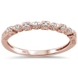 .06ct 14k Rose Gold Diamond Anniversary Wedding Stackable Band Size 6.5