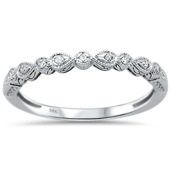 .05ct 14k White Gold Diamond Anniversary Wedding Stackable Band Size 6.5