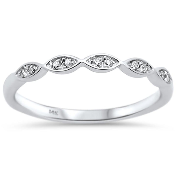 .08ct 14k White Gold Diamond Anniversary Wedding Stackable Band Size 6.5