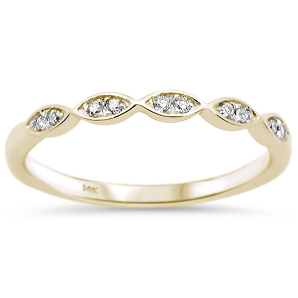 .07ct 14k Yellow Gold Diamond Anniversary Wedding Stackable Band Size 6.5