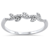 .13ct 14k White Gold Diamond  Leaf Vine Trendy  Stackable Band Size 6.5