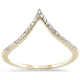 .14ct 14k Yellow Gold Diamond Chevron V Shape Trendy Midi Ring Size 6.5