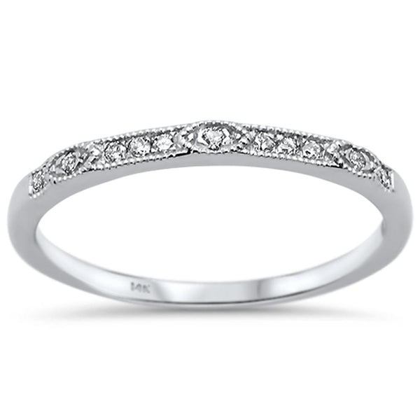 .07ct 14k White Gold Diamond Anniversary Wedding Stackable Band Size 6.5