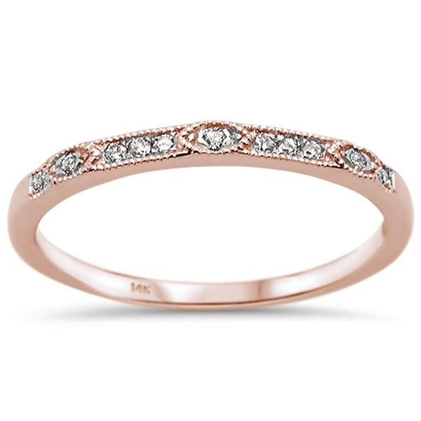.07ct 14k Rose Gold Diamond Anniversary Wedding Stackable Band Size 6.5