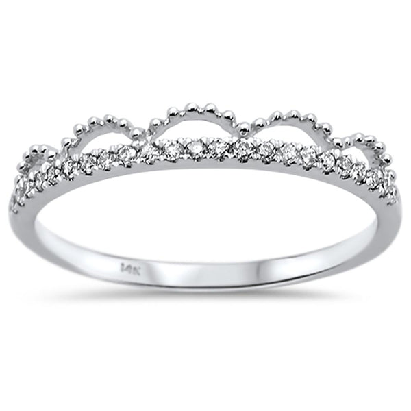 .11ct 14k White Gold Diamond Trendy Crown Stackable Band Size 6.5