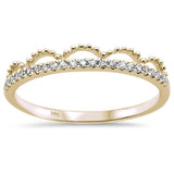 .11ct 14k Yellow Gold Diamond Trendy Crown Stackable Band Size 6.5