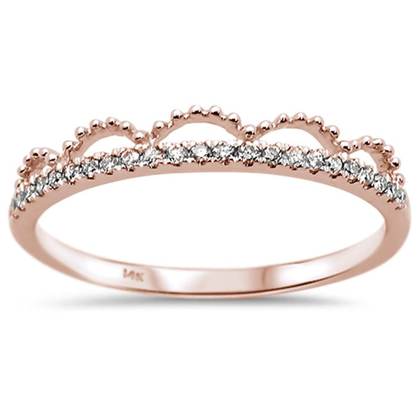 .11ct 14k Rose Gold Diamond Trendy Crown Stackable Band Size 6.5