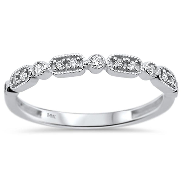 .11ct 14k White Gold Diamond Anniversary Wedding Stackable Band Size 6.5