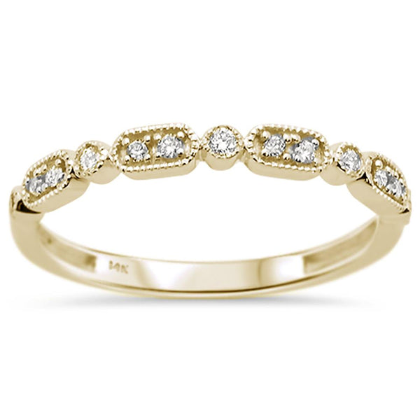 .11ct 14k Yellow Gold Diamond Anniversary Wedding Stackable Band Size 6.5