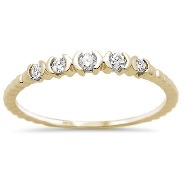 .14ct 14k Yellow Gold Diamond Anniversary Wedding Stackable Band Size 6.5