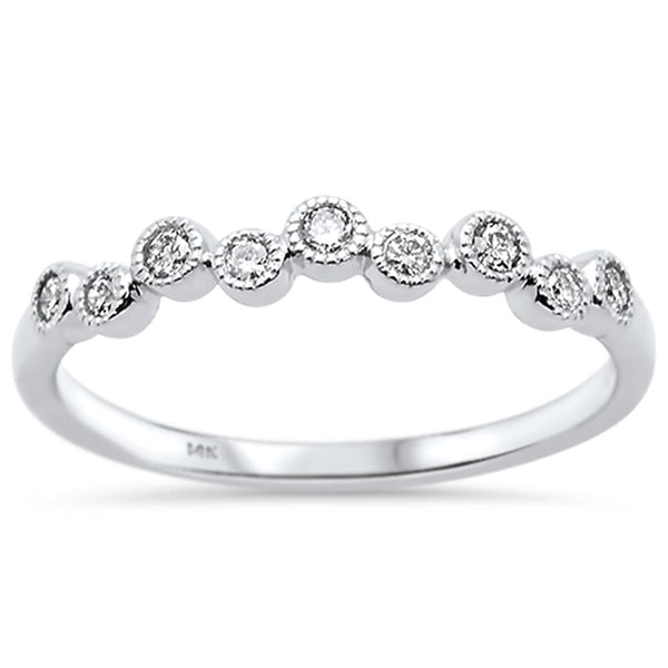 .15ct 14k White Gold Diamond Anniversary Wedding Stackable Band Size 6.5