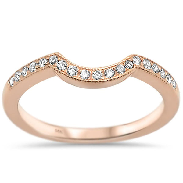 .18ct 14k Rose Gold Diamond Curved Accent Wedding Band Ring Size 6.5
