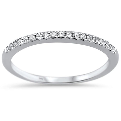 .15ct 14k White Gold Diamond Accent Stackable Wedding Band Ring Size 6.5