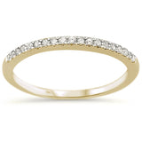 .15ct 14k Yellow Gold Diamond Accent Stackable Wedding Band Ring Size 6.5